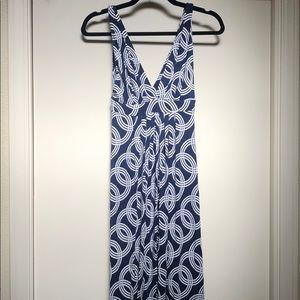 Deep V Neck Blue Maxi Dress